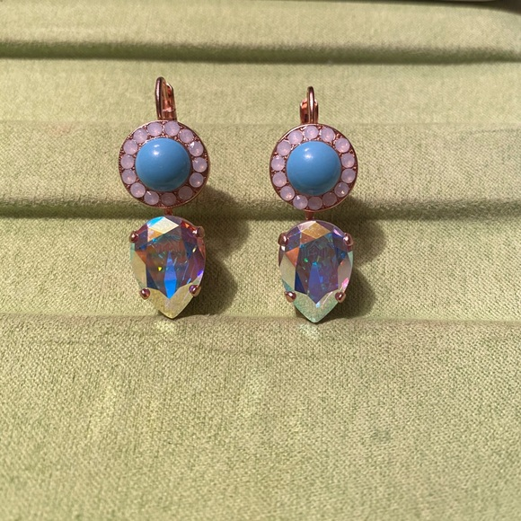 New 24kt Gold Plated Earrings-Crystal/Fabric Beads